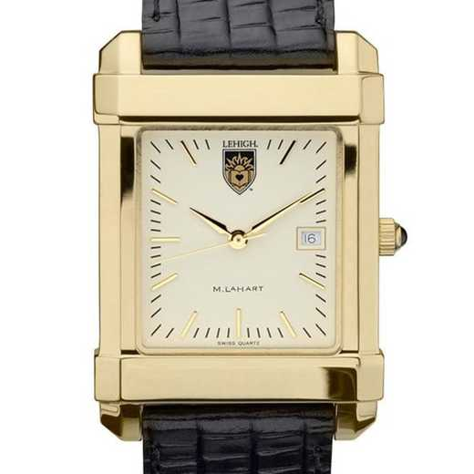 615789411536: Lehigh Men's Gold Quad Watch W/ Leather Strap
