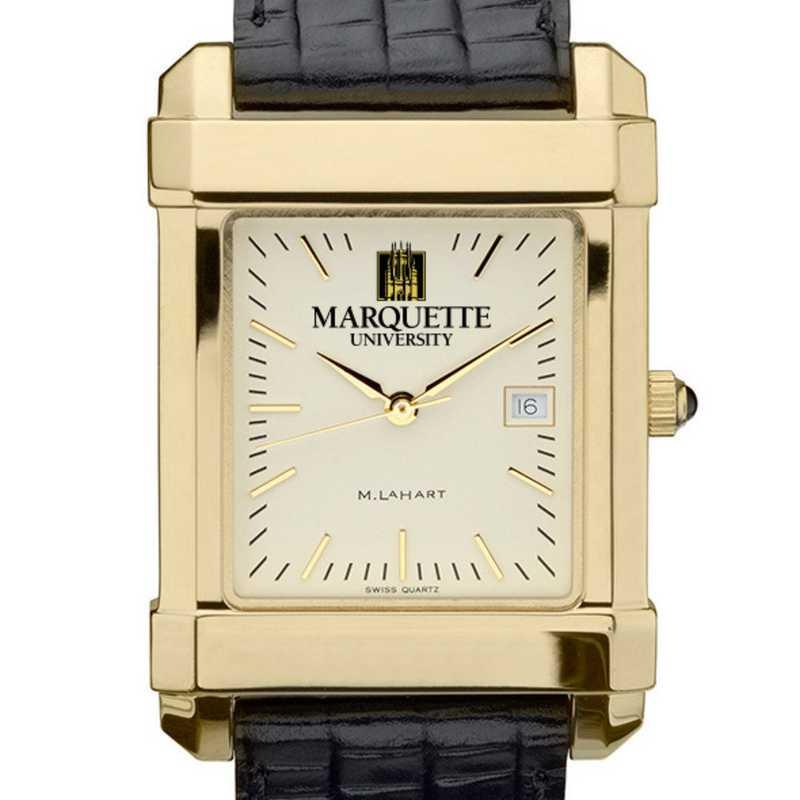 615789710110: Marquette Men's Gold Quad Watch W/ Leather Strap
