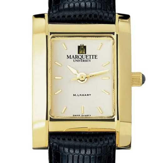 615789866954: Marquette Women's Gold Quad Watch W/ Leather Strap