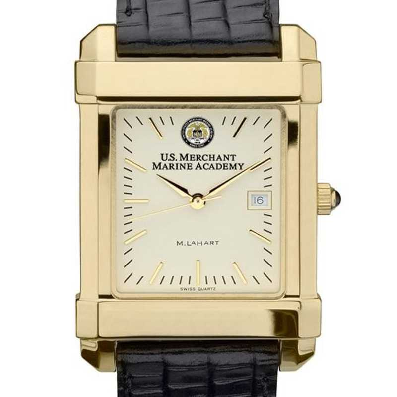 615789181101: USMMA Men's Gold Quad Watch W/ Leather Strap