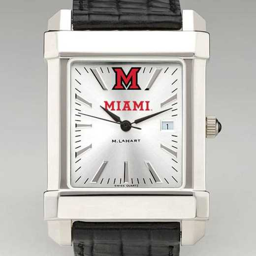 615789176947: Miami Univ Men's Collegiate Watch W/ Leather Strap