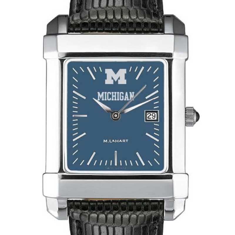 615789083252: Michigan Men's Blue Quad Watch W/ Leather Strap