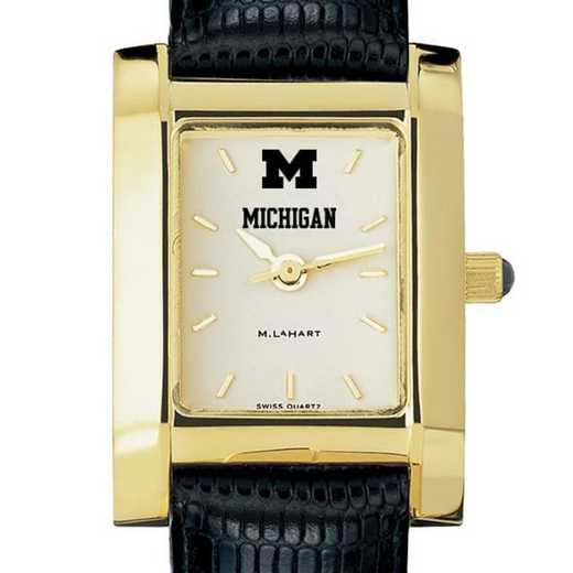 615789511427: Michigan Women's Gold Quad Watch W/ Leather Strap