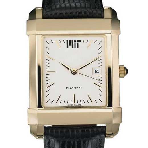 615789331292: MIT Men's Gold Quad Watch W/ Leather Strap