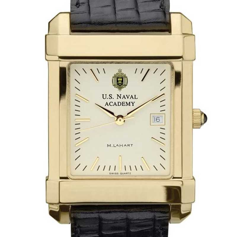 615789113492: USNA Men's Gold Watch W/ Leather Strap
