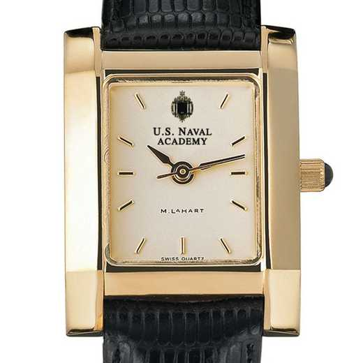 615789627043: USNA Women's Gold Quad Watch W/ Leather Strap