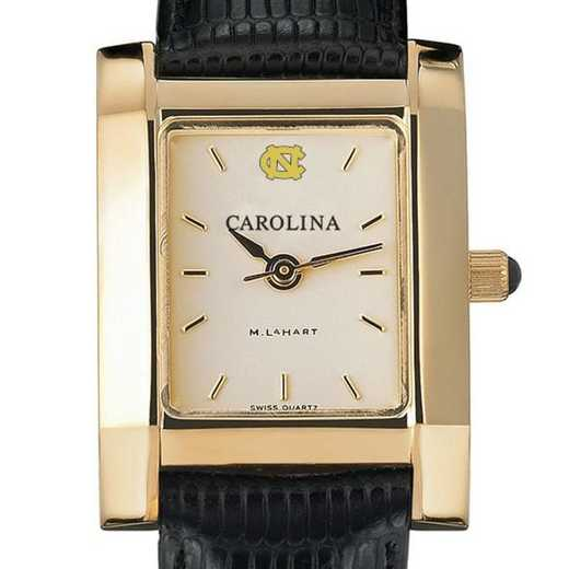 615789465898: UNC Women's Gold Quad Watch W/ Leather Strap