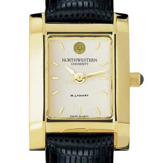 615789056447: Northwestern Women's Gold Quad Watch W/ Leather Strap