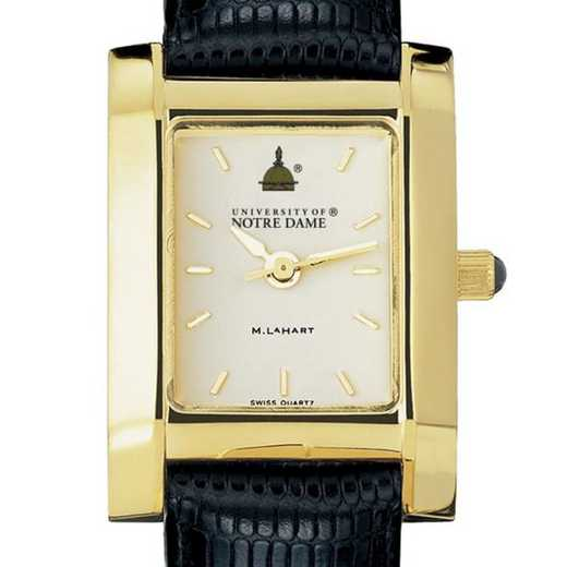 615789196624: Notre Dame Women's Gold Quad Watch W/ Leather Strap