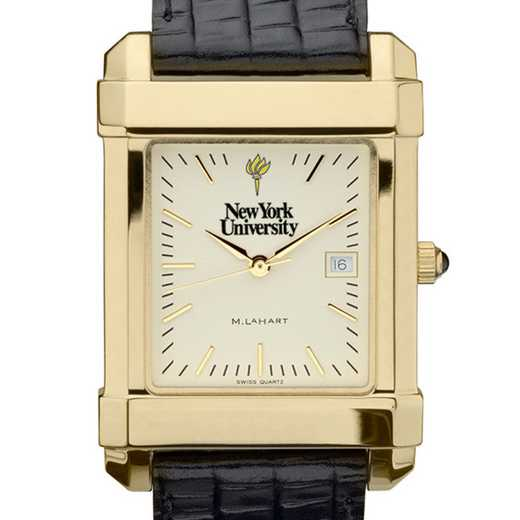 615789215400: NYU Men's Gold Quad Watch W/ Leather Strap