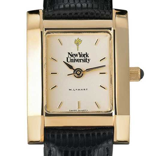 615789362791: NYU Women's Gold Quad Watch W/ Leather Strap