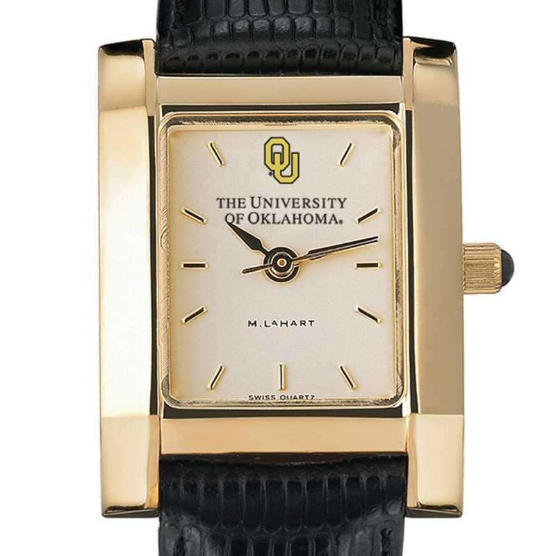 615789192107: Oklahoma Women's Gold Quad Watch W/ Leather Strap
