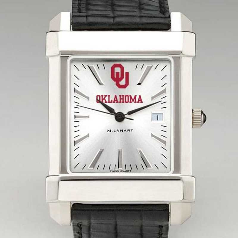 615789802488: Oklahoma Men's Collegiate Watch W/ Leather Strap