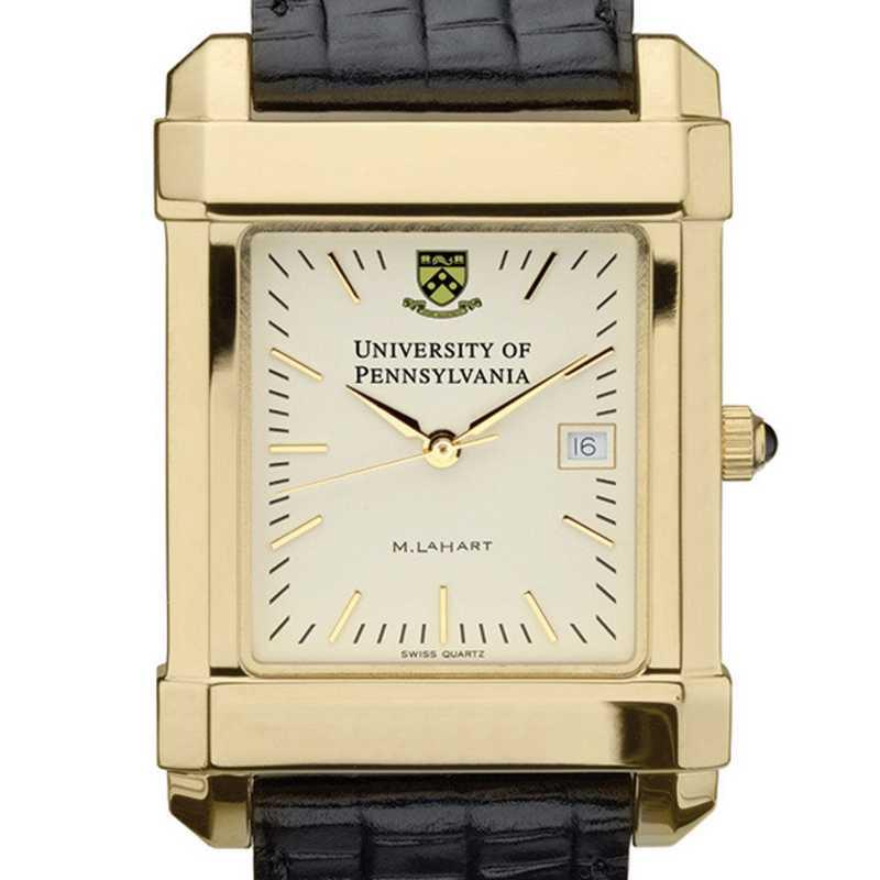 615789410737: Penn Men's Gold Quad Watch W/ Leather Strap