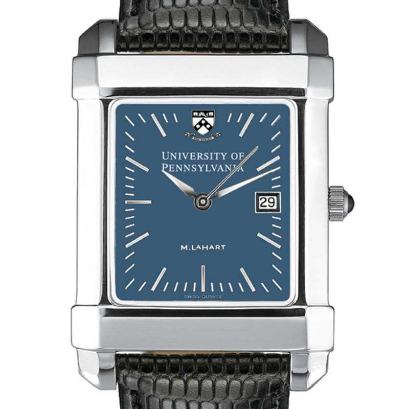 615789410751: Penn Men's Blue Quad Watch W/ Leather Strap