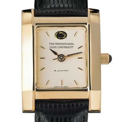 615789864479: Penn State Women's Gold Quad Watch W/ Leather Strap