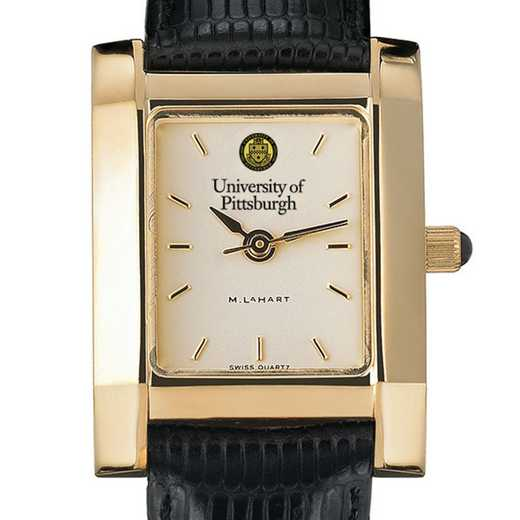 615789671688: Pittsuburgh Women's Gold Quad Watch W/ Leather Strap