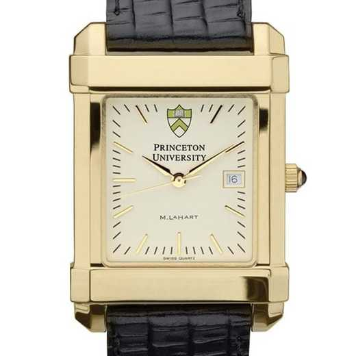 615789368694: Princeton Men's Gold Quad Watch W/ Leather Strap