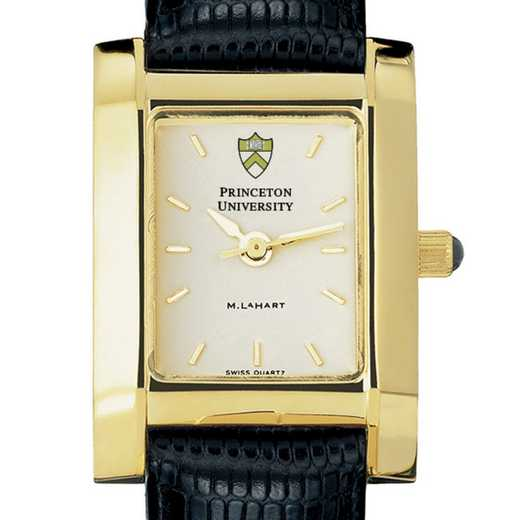615789934370: Princeton Women's Gold Quad Watch W/ Leather Strap