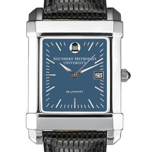 615789411093: SMU Men's Blue Quad Watch W/ Leather Strap