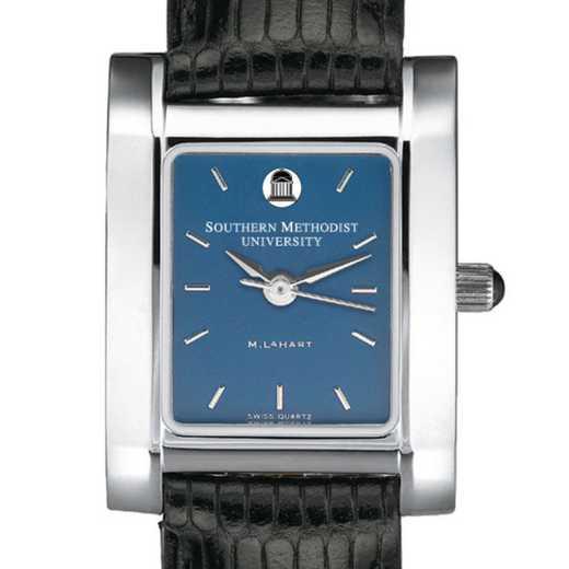 615789411116: SMU Women's Blue Quad Watch W/ Leather Strap