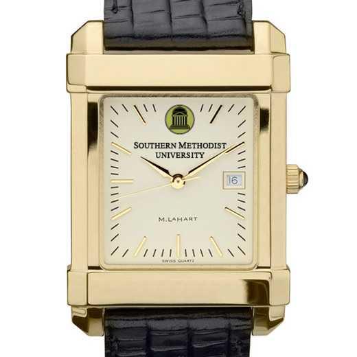 615789411499: SMU Men's Gold Quad Watch W/ Leather Strap