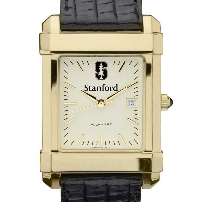 615789059691: Stanford Men's Gold Quad Watch W/ Leather Strap
