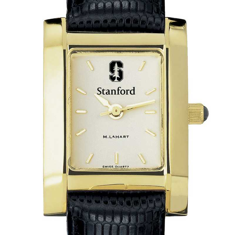 615789070030: Stanford Women's Gold Quad Watch W/ Leather Strap