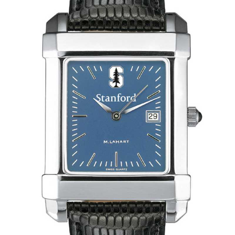 615789273998: Stanford Men's Blue Quad Watch W/ Leather Strap