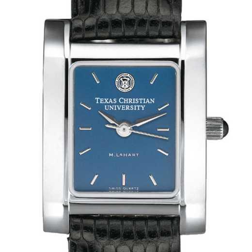 615789411192: TCU Women's Blue Quad Watch W/ Leather Strap