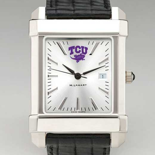615789742968: Texas Christian Univ Men's Collegiate Watch W/ Leather Strap