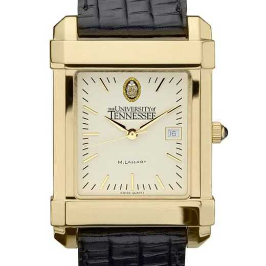 615789869467: Tennessee Men's Gold Quad Watch W/ Leather Strap