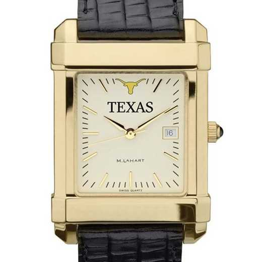 615789085430: Texas Men's Gold Quad Watch W/ Leather Strap