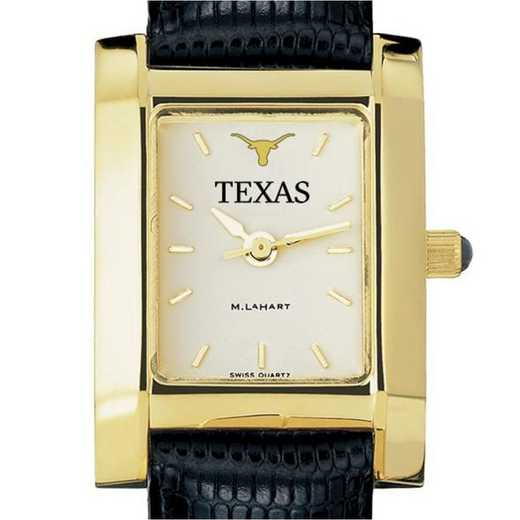 615789695554: Texas Women's Gold Quad Watch W/ Leather Strap