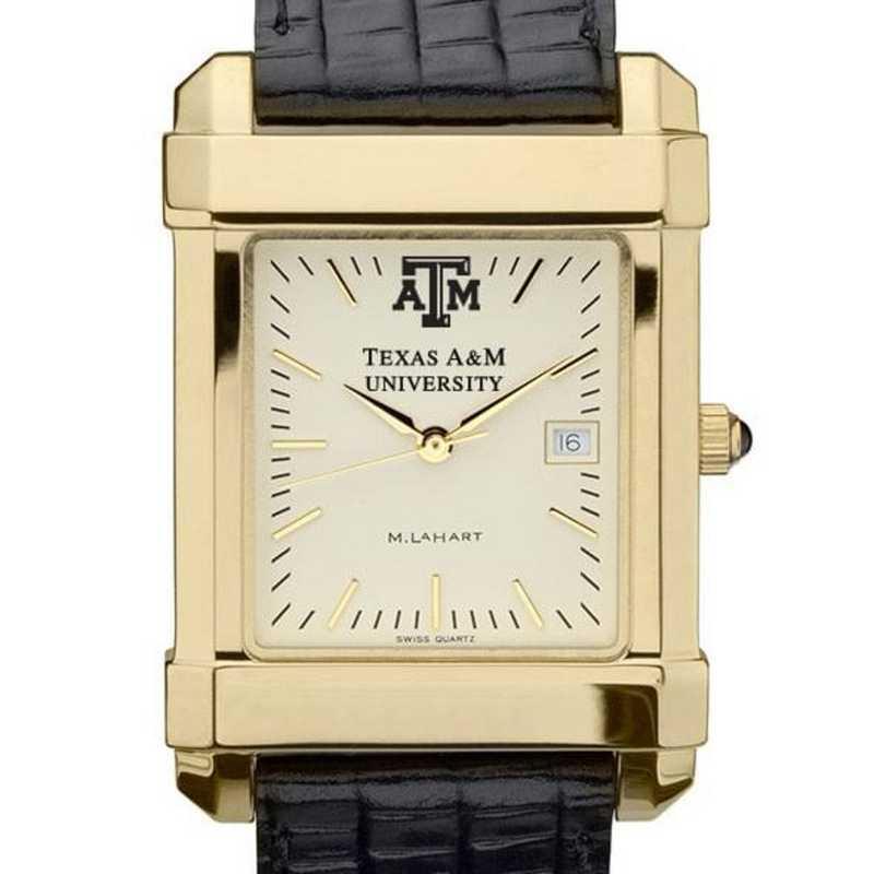 615789411413: Texas A&M Men's Gold Quad Watch W/ Leather Strap