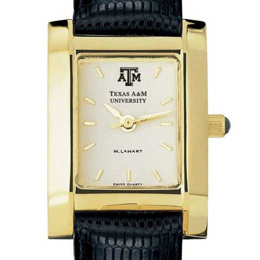 615789411420: Texas A&M Women's Gold Quad Watch W/ Leather Strap