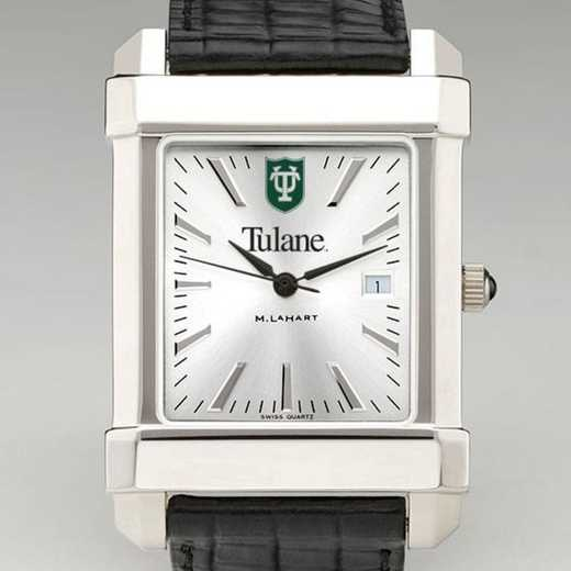 615789390527: Tulane Men's Collegiate Watch W/ Leather Strap