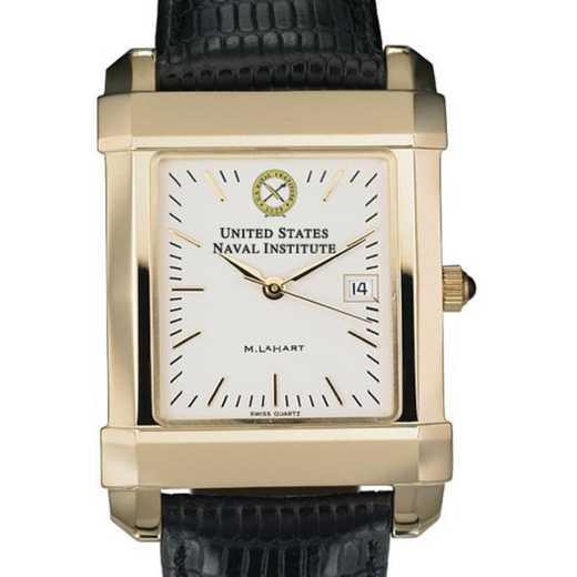 615789199618: USNI Men's Gold Quad Watch W/ Leather Strap