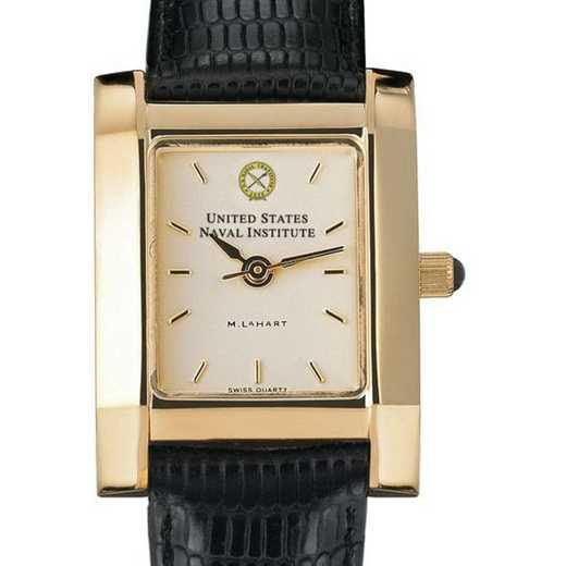 615789852704: USNI Women's Gold Quad Watch W/ Leather Strap