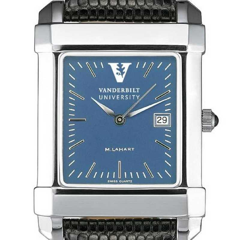 615789651772: Vanderbilt Men's Blue Quad Watch W/ Leather Strap