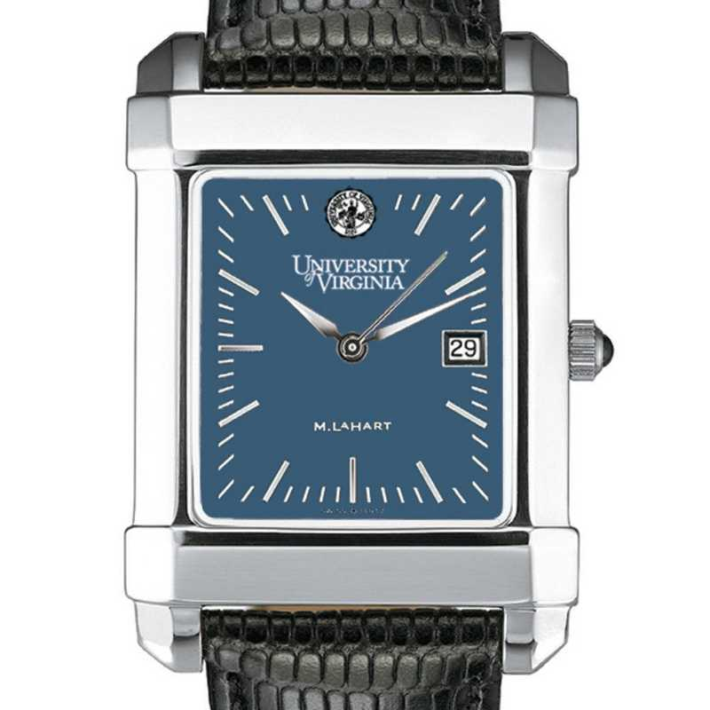 615789047834: UVA Men's Blue Quad Watch W/ Leather Strap