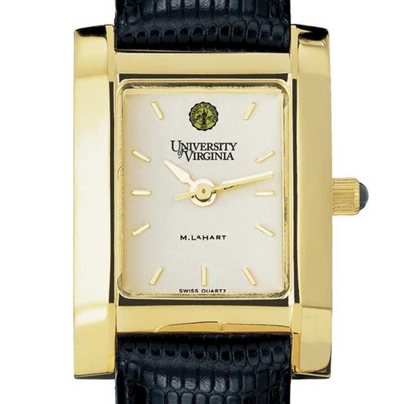 615789614210: UVA Women's Gold Quad Watch W/ Leather Strap