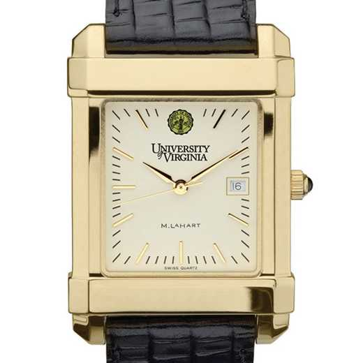 615789696452: UVA Men's Gold Quad Watch W/ Leather Strap