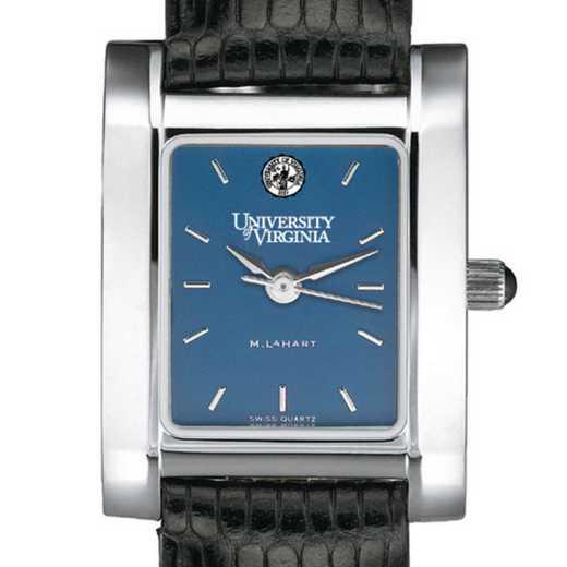 615789698982: UVA Women's Blue Quad Watch W/ Leather Strap