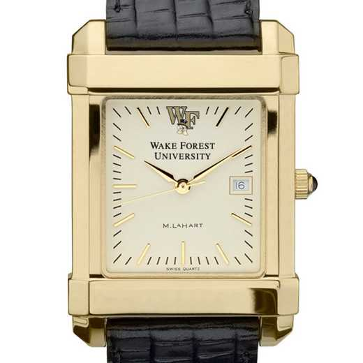 615789080688: Wake Forest Men's Gold Quad Watch W/ Leather Strap
