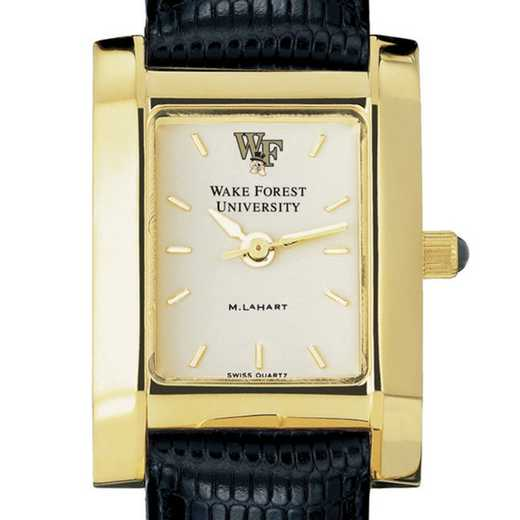 615789973218: Wake Forest Women's Gold Quad Watch W/ Leather Strap