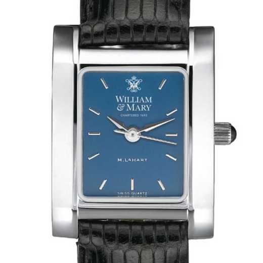 615789411277: William & Mary Women's Blue Quad Watch W/ Leather Strap