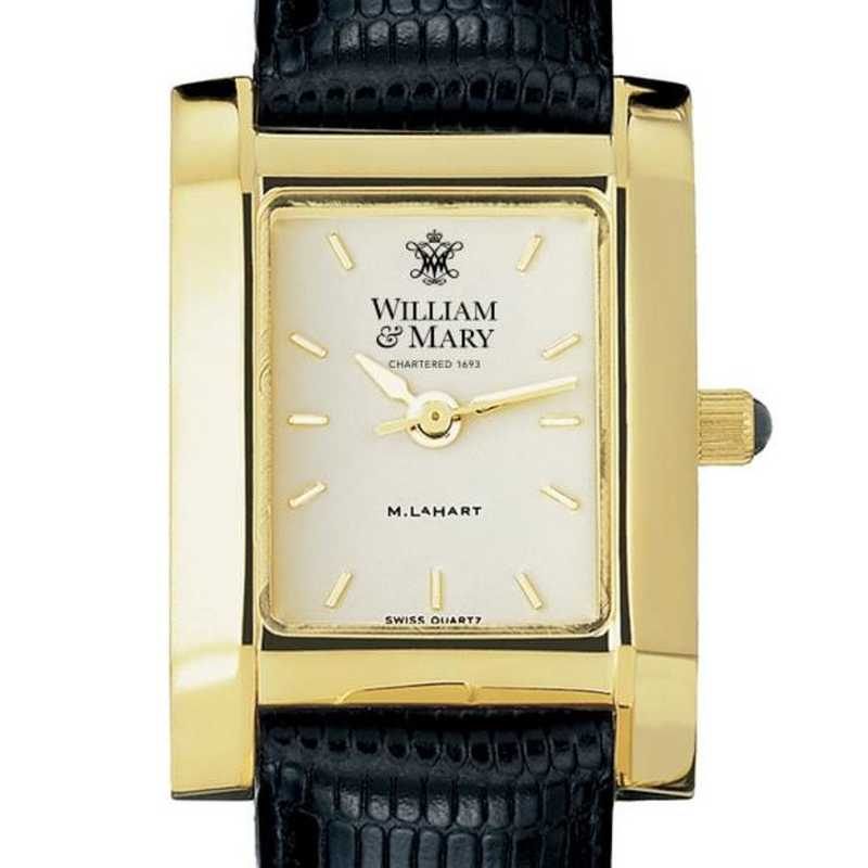 615789411529: William & Mary Women's Gold Quad Watch W/ Leather Strap