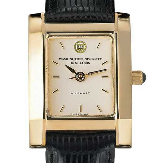 615789431367: WUSTL Women's Gold Quad Watch W/ Leather Strap