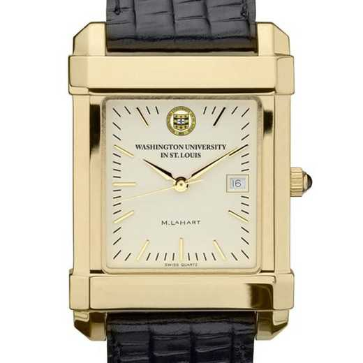 615789756224: WUSTL Men's Gold Quad Watch W/ Leather Strap